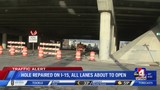 I-15 reopens after crews work to repair hole in freeway overpass